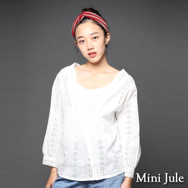 ☆現貨☆上衣 蕾絲簍空V領長袖罩衫(白) 小豬兒 Mini Jule【SHA82009511】