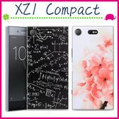 Sony XZ1 Compact 4.6吋 浮雕彩繪手機殼 花朵背蓋 PC手機套 硬殼保護套 可愛企鵝保護殼 透明側邊