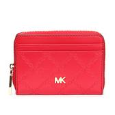 MICHAEL KORS 菱格鏈飾壓紋皮革拉鍊零錢包(紅色)618146-2