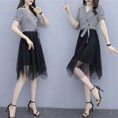 促銷價不退換中大尺碼XL-5XL洋裝連身裙33547夏裝新款女裝洋氣條紋拼接網紗連衣裙假兩件