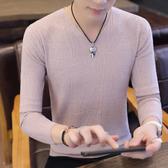 2019冬季新款男士韓版長袖T恤衛衣針織打底衫潮流秋裝上衣服秋衣