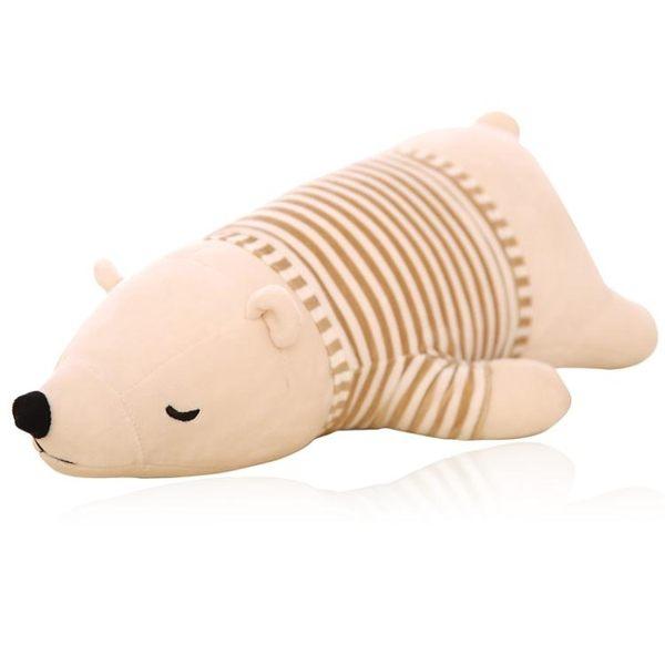 交換禮物-毛絨公仔-北極熊毛絨玩具長條抱枕頭可愛公仔娃娃玩偶趴趴熊生日禮物送女友T1