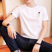 南極人男士短袖T恤圓領修身韓版潮流半袖白色學生夏季衣服男體恤 自由角落