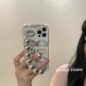 韓國ins鏡面英文鏈條腕帶蘋果手機殼iphone12/11Promax/Xr/78Plus/Xsmax防摔保護套