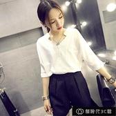 白色雪紡襯衫女短袖夏韓版休閒上衣寬鬆職業裝V領【全館免運】