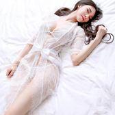 火辣性感透明女蕾絲睫毛睡裙情趣內衣鏤空睡衣誘惑薄紗浴袍三套裝【全館鉅惠風暴】
