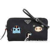 PRADA Smalto 機器人徽章尼龍手腕包(黑色) 1840492-01