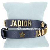 Dior J'ADIOR 金字小牛皮雙圈手環/頸鍊(深藍色) 1840353-E1