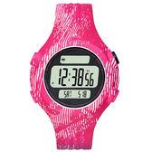 adidas 勁戰狙擊大面板電子腕錶-桃紅x白印刷紋x小