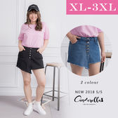 大碼仙杜拉-中大尺碼 排扣不規則牛仔短裙/下半身 XL-3XL碼 ❤【ENW068】(預購)