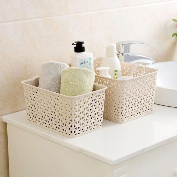 [超豐國際]帶把手仿藤編桌面收納籃浴室洗澡籃浴筐廚房塑料籃子收納筐