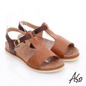 A.S.O 輕量樂活 真皮壓花木紋涼鞋  咖啡