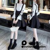 套裝/女洋裝長袖背帶裙兩件套「歐洲站」