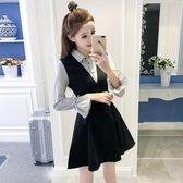 氣質小香風假兩件A字打底襯衫裙修身長袖條紋洋裝 優家小鋪