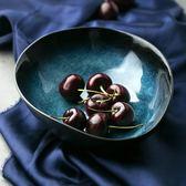 歐式藍色異形碗創意湯碗面碗不規則水果沙拉碗陶瓷飯碗家用    易家樂