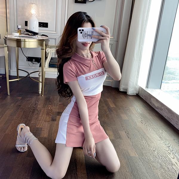 VK旗艦店 韓國風拉鏈收腰顯瘦顯胸性感撞色拼接短袖洋裝