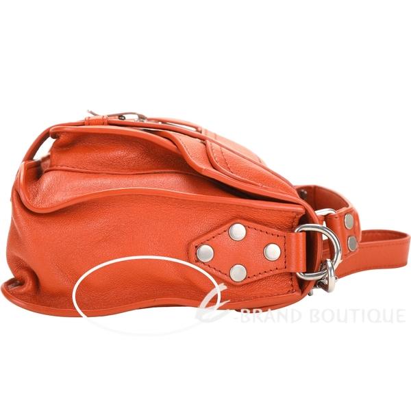 [ NG大放送 ]PROENZA SCHOULER PS1 Tiny 橘色羊皮斜背手提學院包(皮革多處小黑點) 1490084-25