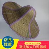 夏布草混編大沿遮陽帽太陽帽登山防曬防紫外線草帽折疊釣魚帽子