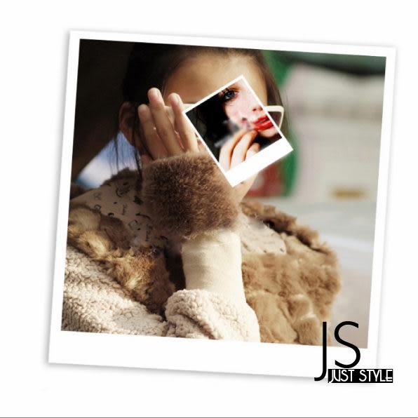 半截手套【JS精心苑】仿兔毛皮草手套 電腦打字 半截皮草露指半指/手套/腕套/配件
