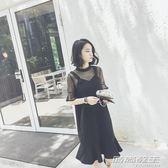 新款韓版初戀復古露肩雪紡洋裝女夏網紗吊帶裙裙子     時尚教主