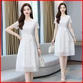 春夏短袖洋裝 白色雪紡連衣裙女夏2021新款女神范夏季高端名媛氣質裙子 9238 依多多