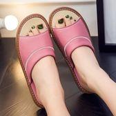 夏季家居木地板羊皮拖鞋室內居家防滑涼拖鞋男女夏天家用拖鞋【七夕節好康搶購】