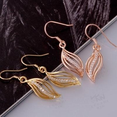 耳環 玫瑰金純銀 鑲鑽-獨特亮麗螺旋造型生日情人節禮物女飾品2色73bu38【時尚巴黎】