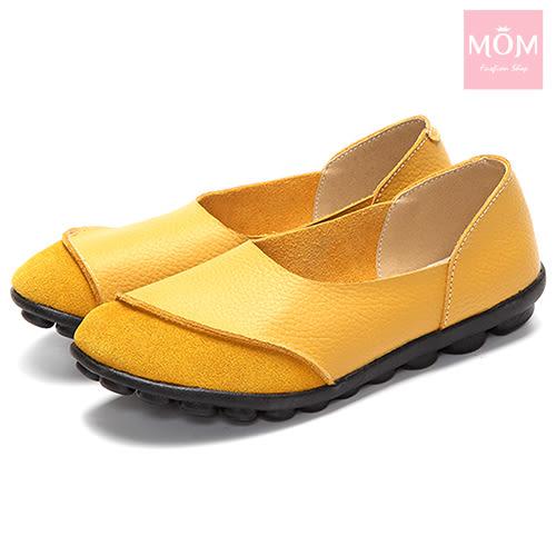 異材質拼接純色小圓頭舒適真皮樂福鞋 黃 *MOM*