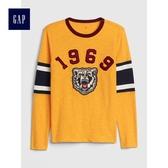 Gap男童 寬鬆圓領長袖足球T恤 491323-明黃色