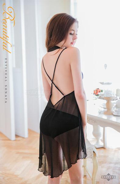 【中大尺碼睡衣】魅黑柔紗繞頸交叉美背二件式薄紗性感睡衣 星光密碼V036