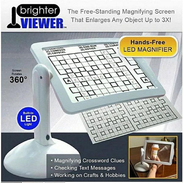 台式放大鏡Brighter Viewer屏幕放大器360度旋轉支架臺式燈led燈閱讀放大鏡快速出貨