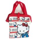 小禮堂 Hello Kitty 硬式支架尼龍保冷便當袋 保冷提袋 保溫袋 野餐袋 (米 橫紋) 4713218-20283