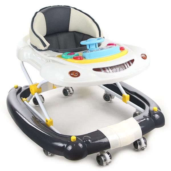 【YIP baby】汽車造型多功能搖擺學步車/螃蟹車(深鐵灰)【六甲媽咪】