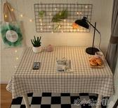 桌布布藝書桌棉麻學生格子北歐小清新長方形餐桌布茶幾 簡而美