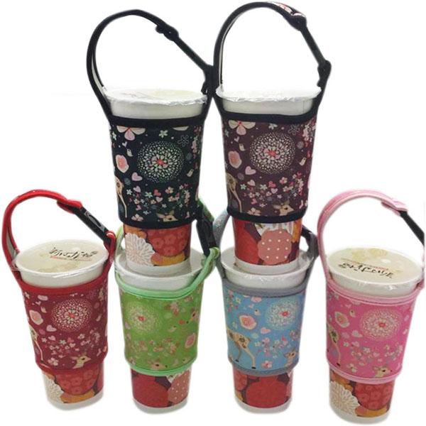 BO雜貨【SV9580】通用500cc 700cc 手搖飲料杯套 潛水料杯套 奶茶杯套 咖啡杯套 環保手提袋 防燙套