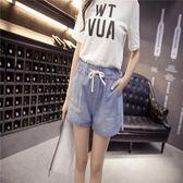 新款抽繩胖mm大碼女裝寬鬆鬆緊牛仔短褲     東川崎町
