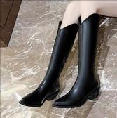 長筒靴 2020年新款秋冬不過膝V口高筒長靴女尖頭粗跟騎士