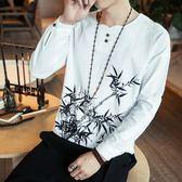 春季中國風男裝刺繡亞麻T恤男長袖寬鬆大碼薄款休閒唐裝棉麻上衣 美芭