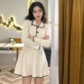 出清388 韓國風氣質修身顯瘦翻領高腰針織長袖洋裝