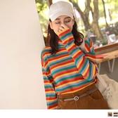 《AB11221-》針織高領配色條紋寬袖上衣 OB嚴選