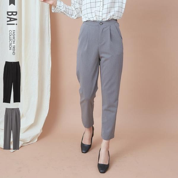 哈倫褲 素色打摺單釦後鬆緊類西裝褲M-L號-BAi白媽媽【190892】