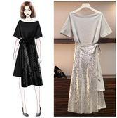 促銷價不退換實拍原創單品中大尺碼XL-5XL/31957女裝夏新款寬松中長款短袖連衣裙亮片半身裙兩件套