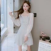 長袖洋裝 秋季法式小衆小個子小香風 方領雪紡長袖拼接顯瘦仙女連身裙 店慶降價