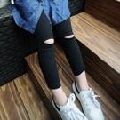 *╮S13小衣衫╭*膝蓋破洞黑色九分鉛筆褲1060901