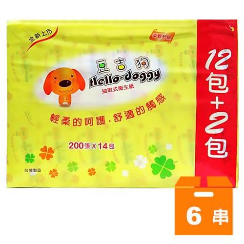 豆吉狗 抽取式衛生紙 (100抽x12+2包)x6串/箱