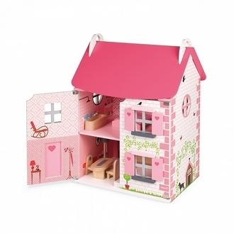 【法國Janod】Doll s House-粉夢幻娃娃屋(買大送小)贈-快樂家庭人偶 J06581 /組