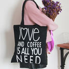 帆布包-開口拉鍊的-Love &Coffee優雅側背帆布包手提包-Need09