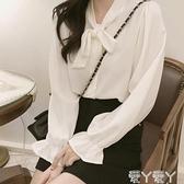 長袖襯衫 秋裝設計感女小眾洋氣喇叭袖蝴蝶結雪紡白襯衫2021氣質復古襯衣 愛丫 免運