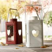燭台   柔軟時光 歐式古典鐵藝蠟燭台情人節婚慶擺件 手提心形鐵藝風燈 igo