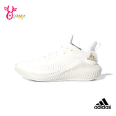 adidas童鞋 女鞋 ALPHABOUNCE 全白運動鞋 透氣跑步鞋 慢跑鞋 大童鞋R9382#白色◆OSOME奧森鞋業